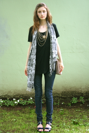 necklace - scarf - jeans