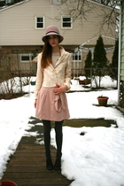 gold vintage blazer - beige H&M shirt - pink Urban Outfitters skirt - pink Urban