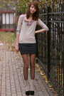 Gray-bershka-dress-tan-suede-mango-bag-tan-flea-market-socks