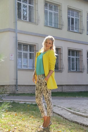 silver benetton pants - yellow Zara coat - turquoise blue Forever 21 blouse