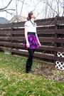 Purple-hip-skirt-white-smart-set-t-shirt-black-forever-21-jacket-black-roc