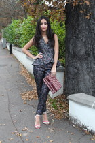 Topshop suit - vintage clutch christian dior bag - sandals j w andersol heels