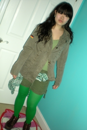 jacket - t-shirt - tights - top - shoes