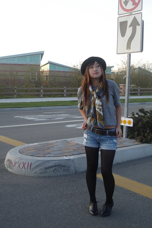 gray Forever 21 shirt - gold vintage scarf - black H&amp;M hat - black payless shoes