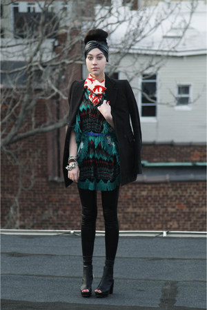 black Silence & Noise hat - black Gucci blazer - red vintage scarf