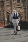Heather-gray-h-m-dress-periwinkle-h-m-jacket-brown-louis-vuitton-bag-deep-