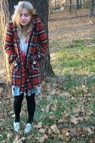 orange Forever 21 coat - white dress - black H&M tights - silver Steve Madden sh