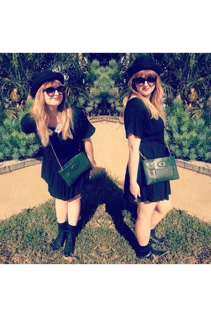 black shoes - black dress - black Forever 21 hat - dark green Accessorize bag