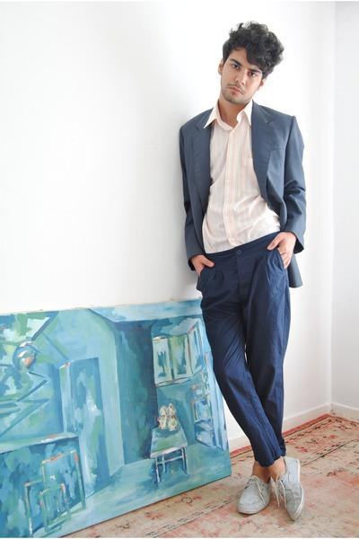 vintage jacket - sarar shirt - Zara shorts - st pants
