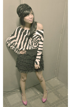 layered Valley Girl skirt - zebra print vintage top - hot pink chic-ago pumps