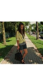 yellow vintage shirt - gray vintage shorts - black Esprit bag - black CCC wedges
