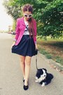 Hot-pink-jacket-black-leather-skirt-black-diy-flats