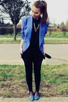 blue jacket - black shirt - blue flats - black pants