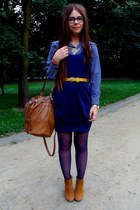 navy dress - carrot orange boots
