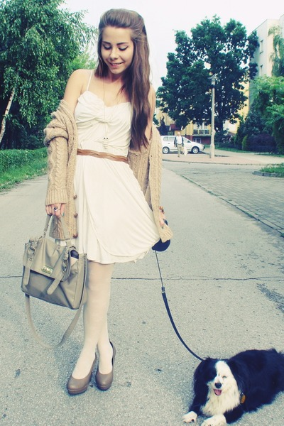white dress - camel sweater - heather gray bag