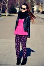 Black-jacket-hot-pink-blouse-hot-pink-floral-pants