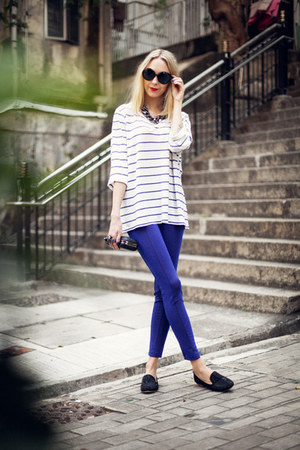 white stripes whyred t-shirt - blue glitter H&M pants