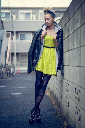cotton chicnova dress - cotton H&M stockings - studs Urban Outfitters wedges