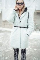 light blue wool H&M coat - black cotton H&M leggings - black H&M bag