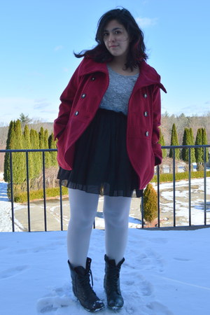 black lace up boots thrifted boots - brick red peacoat Walmart coat