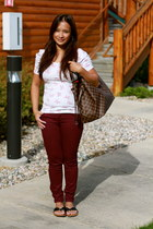 brick red colored jeans Forever 21 jeans