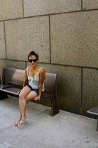 TJ Maxx shirt - jeans denim TJ Maxx shorts - rayban sunglasses - Havianas flats