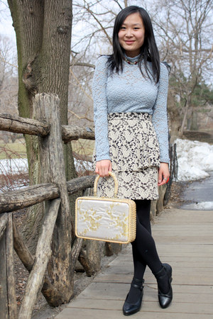 white peplum Mysty Woman skirt - eggshell vintage bag - black vintage pumps
