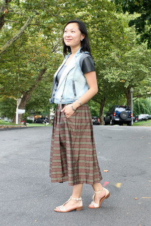 heather gray leather threadsence t-shirt - light brown vintage vintage skirt
