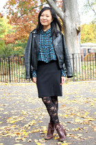 black leather jacket vintage jacket - crimson Seychelles boots