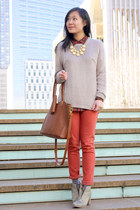 peach jeweled MarketNYC necklace - heather gray Initial boots - coral mih jeans