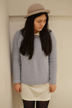 heather gray Topshop hat - cream H&M dress - periwinkle Topshop jumper