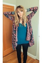 pink Urban Outfitters sweater - black jeggings jeans - teal tank top