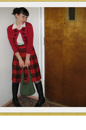 red Mervyns sweater - red thrifted skirt - white vintage from Ebay blouse - blac