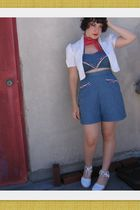blue vintage top - blue shorts - white shoes - red scarf