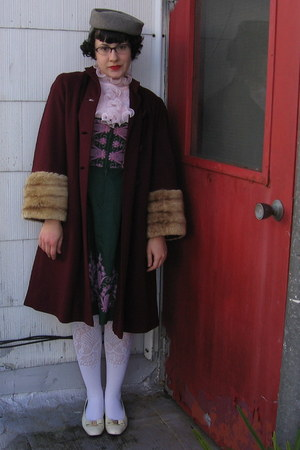 forest green vintage dirndl dress - crimson vintage 40s coat - white socks - pin