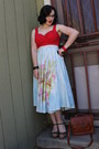 Light-blue-vintage-skirt-ruby-red-vintage-top
