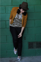 bronze American Apparel shirt - tawny vintage jacket - black Zara pants