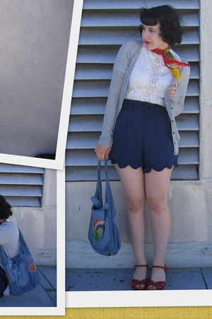 blue thrifted and hemmed by myself shorts - white vintage blouse - miz mooz shoe