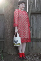 red vintage dress - red socks - black flats