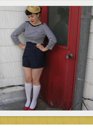 red shoes - blue Forever 21 shorts - white J Crew top - white socks - beige hat