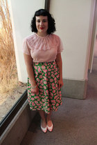 light pink vintage blouse - lime green vintage skirt - light pink vintage flats