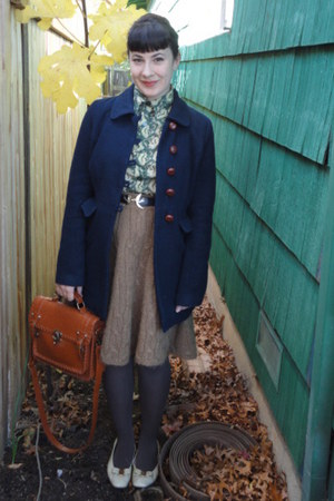 olive green vintage shirt - navy f21 coat - light brown H&amp;M skirt