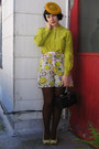 Gold-vintage-hat-dark-brown-tights-chartreuse-vintage-blouse