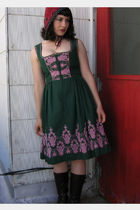 green vintage dirndl dress - red Gibbous hat - brown Aldo boots