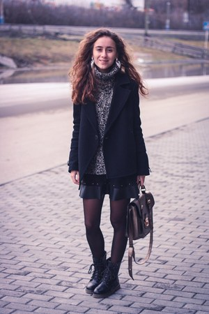 black Mango coat - gray Bershka sweater - black pull&bear skirt