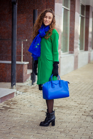 green BeFree coat - blue BeFree scarf - blue BeFree bag