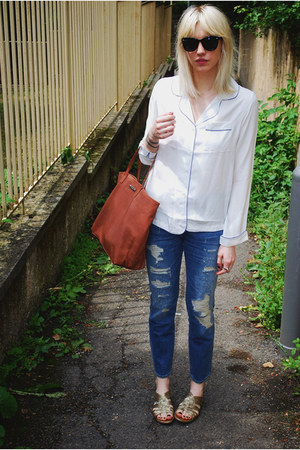 white pyjama Topshop shirt - blue Zara jeans - brown Mango bag