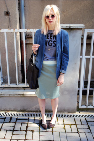 black mesh Cheap Monday flats - blue H&M blazer - navy Mango bag