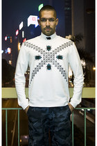 white Markus Lupfer sweatshirt - white American Apparel shirt