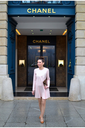 light pink Zara dress - camel monoprix bag - brown Zara heels